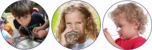 3 Bilder trinken Brunnen